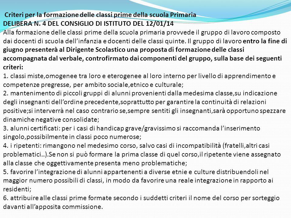 Criteri per la formazione delle classi prime della scuola Primaria DELIBERA N. 4 DEL CONSIGLIO DI ISTITUTO DEL 12/01/14 Alla formazione delle classi p