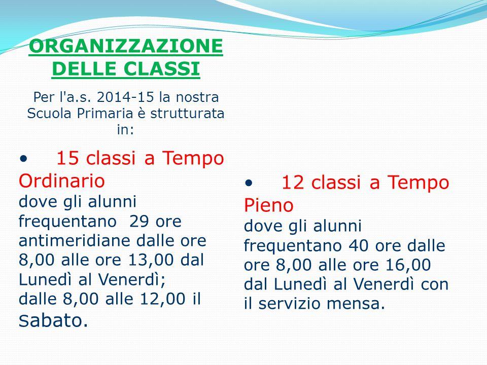 ORGANIZZAZIONE DELLE CLASSI Per l'a.s. 2014-15 la nostra Scuola Primaria è strutturata in: 15 classi a Tempo Ordinario dove gli alunni frequentano 29