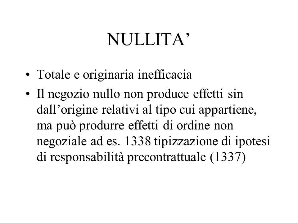 NULLITA' Totale e originaria inefficacia Il negozio nullo non produce effetti sin dall'origine relativi al tipo cui appartiene, ma può produrre effett