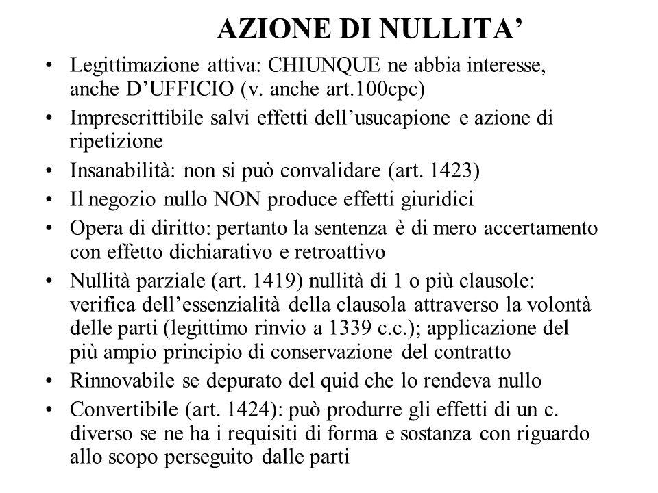 AZIONE ANNULLABILITA' Cause: Incapacità di contrattare legale o d'intendere e di volere/ se incapacità naturale (v.