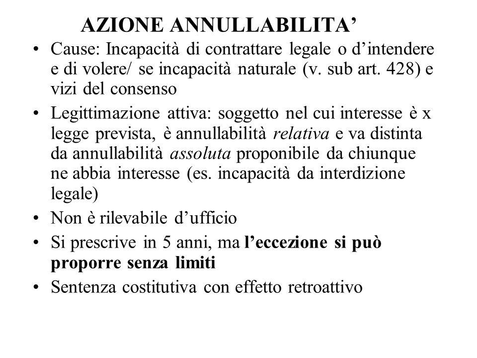 AZIONE ANNULLABILITA' Cause: Incapacità di contrattare legale o d'intendere e di volere/ se incapacità naturale (v. sub art. 428) e vizi del consenso