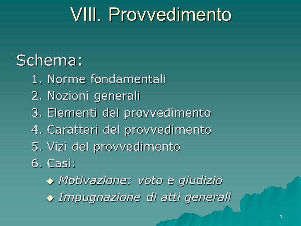 1 VIII. Provvedimento Schema: 1. Norme fondamentali 2. Nozioni generali 3. Elementi del provvedimento 4. Caratteri del provvedimento 5. Vizi del provv