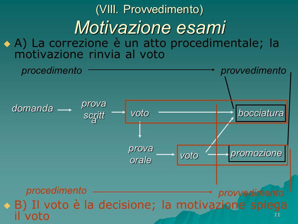 11 (VIII. Provvedimento) Motivazione esami   A) La correzione è un atto procedimentale; la motivazione rinvia al voto   B) Il voto è la decisione;
