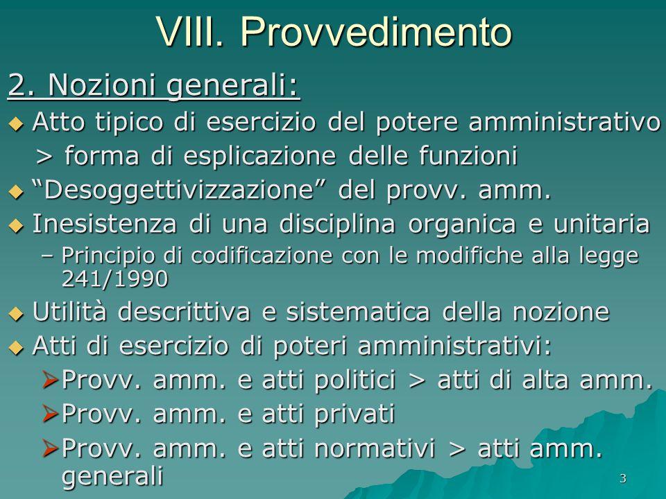 3 VIII. Provvedimento 2. Nozioni generali:  Atto tipico di esercizio del potere amministrativo > forma di esplicazione delle funzioni > forma di espl