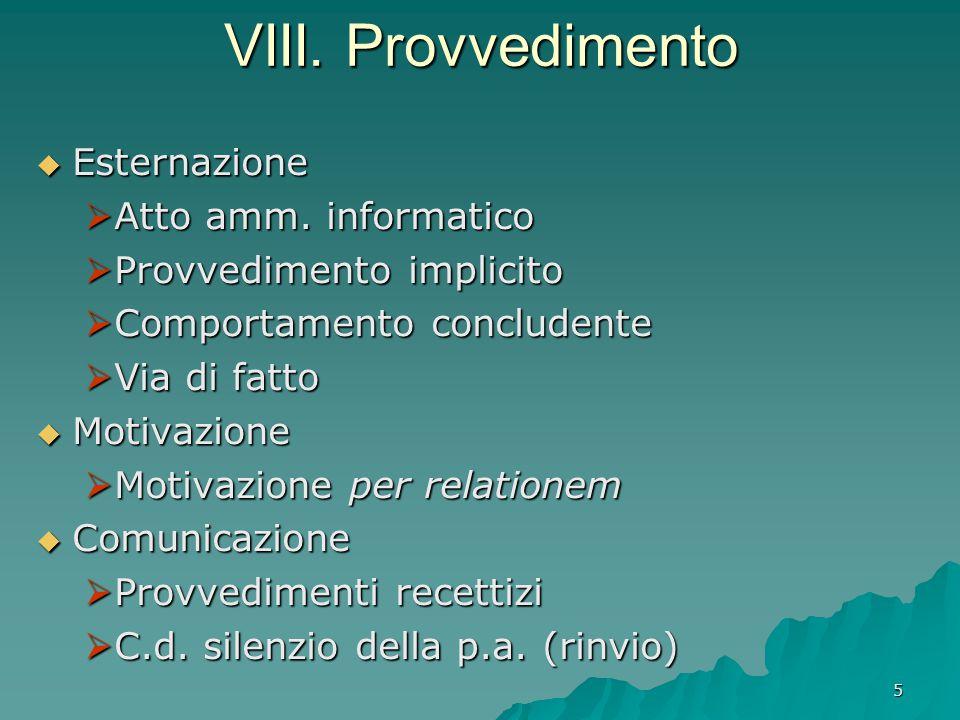 5 VIII. Provvedimento  Esternazione  Atto amm. informatico  Provvedimento implicito  Comportamento concludente  Via di fatto  Motivazione  Moti