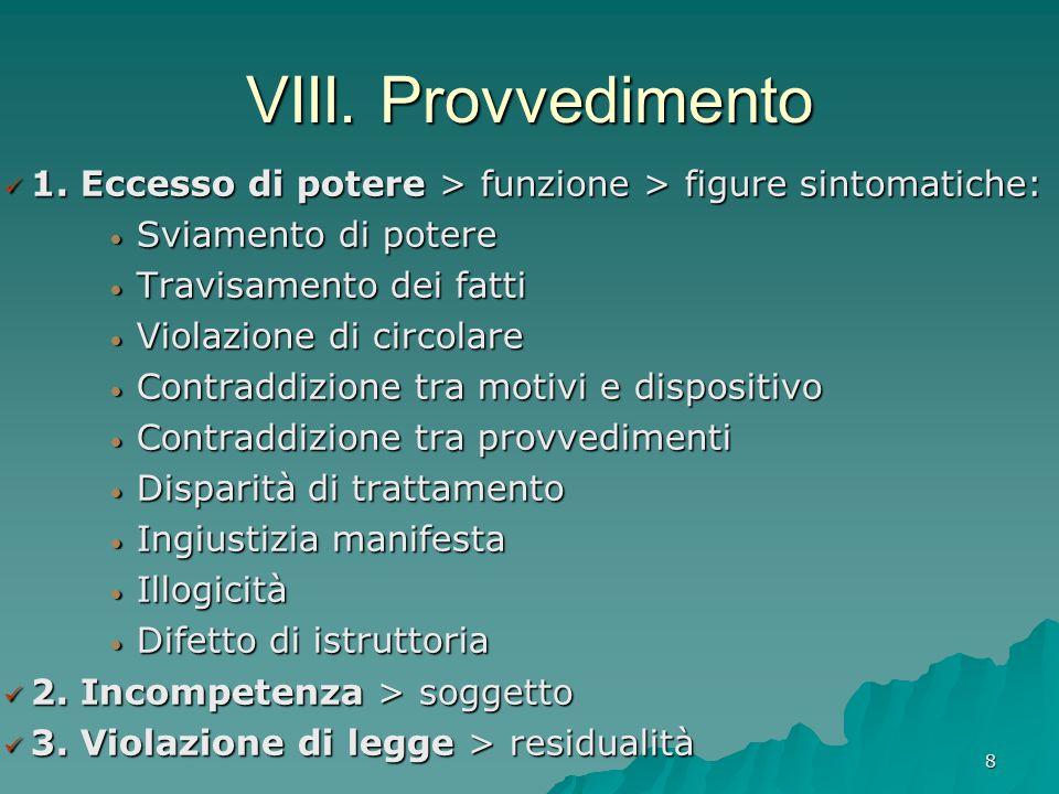 8 VIII. Provvedimento 1. Eccesso di potere > funzione > figure sintomatiche: 1. Eccesso di potere > funzione > figure sintomatiche: Sviamento di poter