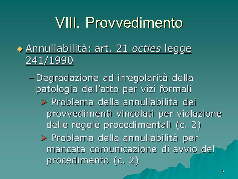 9 VIII. Provvedimento  Annullabilità: art. 21 octies legge 241/1990 –Degradazione ad irregolarità della patologia dell'atto per vizi formali  Proble