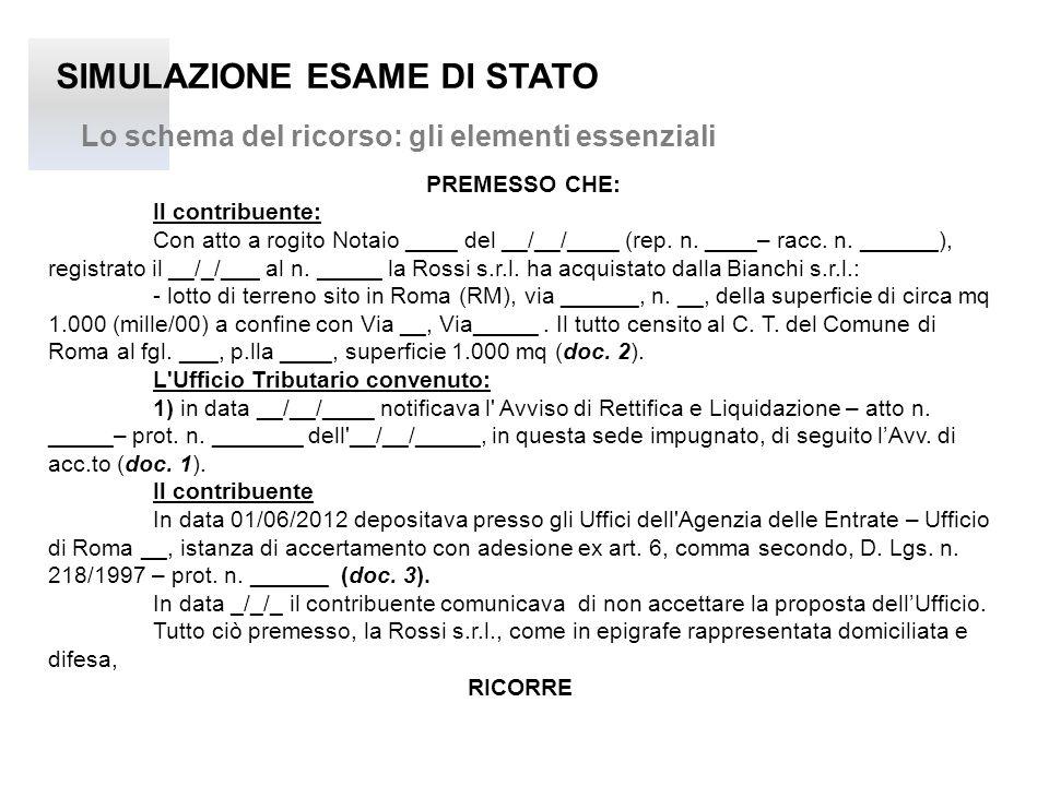 SIMULAZIONE ESAME DI STATO Lo schema del ricorso: gli elementi essenziali PREMESSO CHE: Il contribuente: Con atto a rogito Notaio ____ del __/__/____