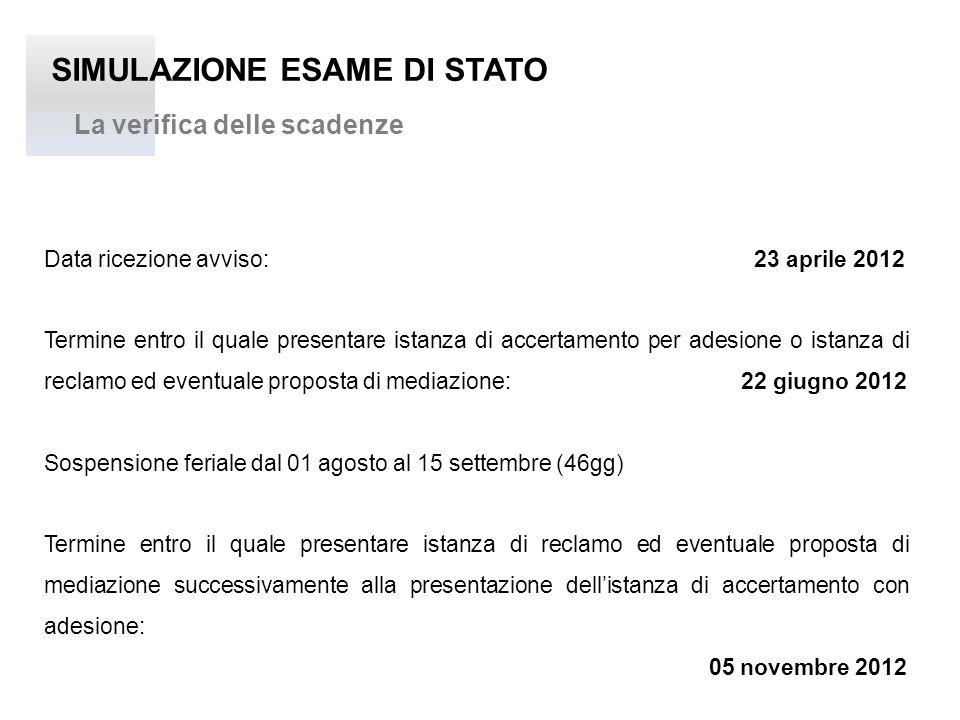 SIMULAZIONE ESAME DI STATO La verifica delle scadenze Data ricezione avviso: 23 aprile 2012 Termine entro il quale presentare istanza di accertamento