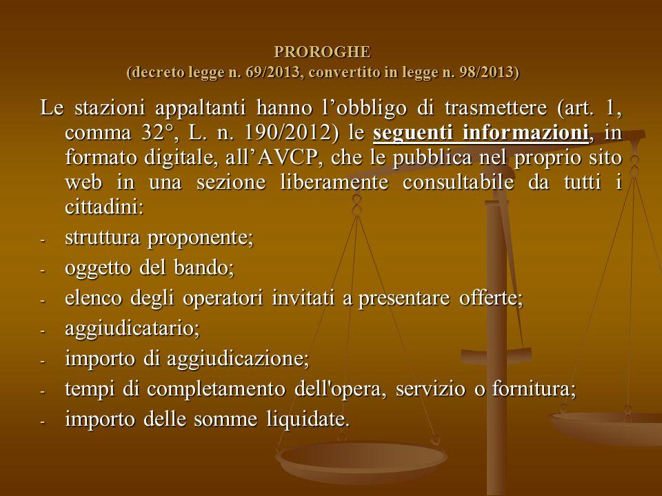 PROROGHE (decreto legge n. 69/2013, convertito in legge n.
