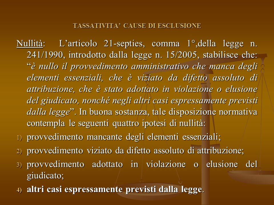 TASSATIVITA' CAUSE DI ESCLUSIONE Nullità: L'articolo 21-septies, comma 1°,della legge n.