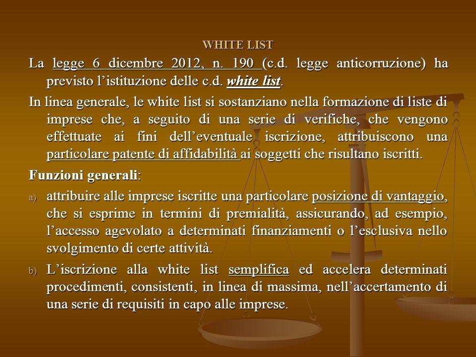 WHITE LIST La legge 6 dicembre 2012, n. 190 (c.d.