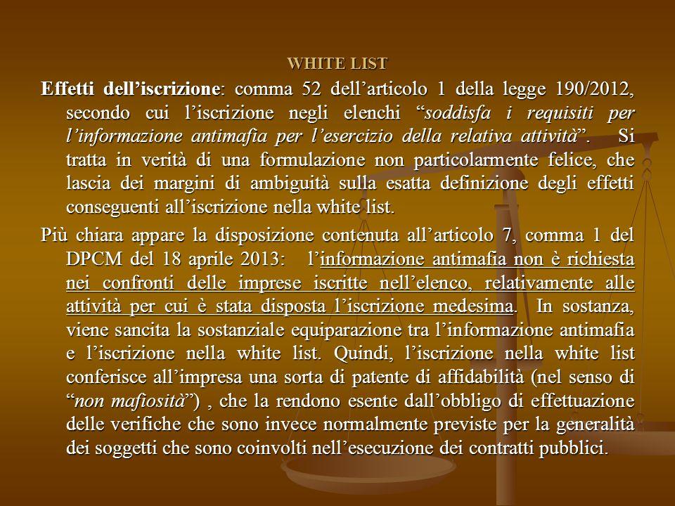 WHITE LIST Effetti dell'iscrizione: comma 52 dell'articolo 1 della legge 190/2012, secondo cui l'iscrizione negli elenchi soddisfa i requisiti per l'informazione antimafia per l'esercizio della relativa attività .