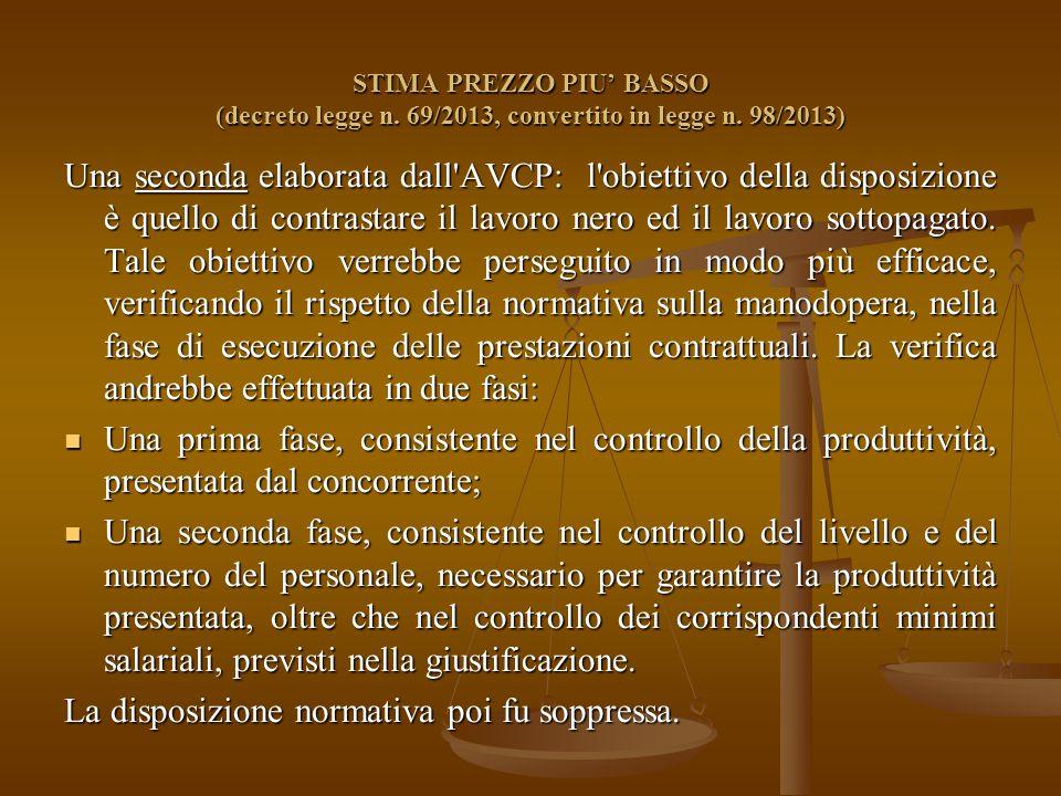 STIMA PREZZO PIU' BASSO (decreto legge n. 69/2013, convertito in legge n.