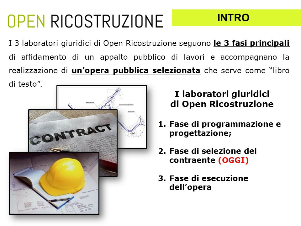 I 3 laboratori giuridici di Open Ricostruzione seguono le 3 fasi principali di affidamento di un appalto pubblico di lavori e accompagnano la realizzazione di un'opera pubblica selezionata che serve come libro di testo .