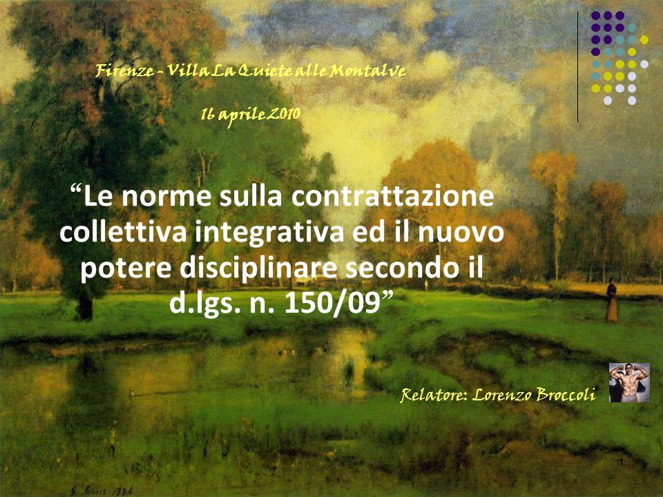 """11 """" Le norme sulla contrattazione collettiva integrativa ed il nuovo potere disciplinare secondo il d.lgs. n. 150/09 """" Relatore: Lorenzo Broccoli Fir"""