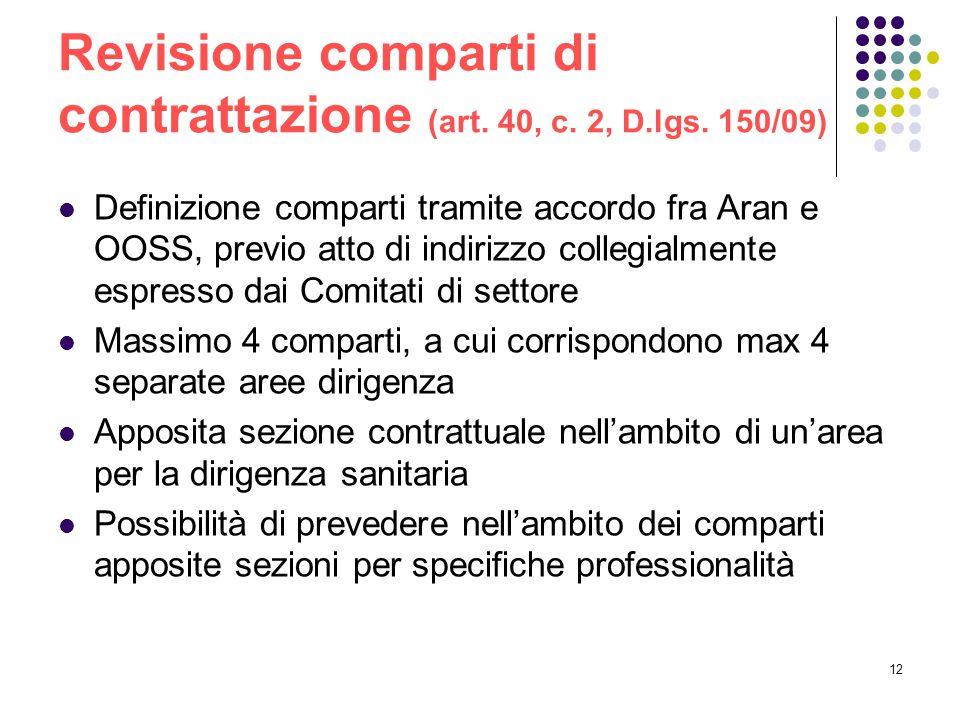 12 Revisione comparti di contrattazione (art. 40, c. 2, D.lgs. 150/09) Definizione comparti tramite accordo fra Aran e OOSS, previo atto di indirizzo