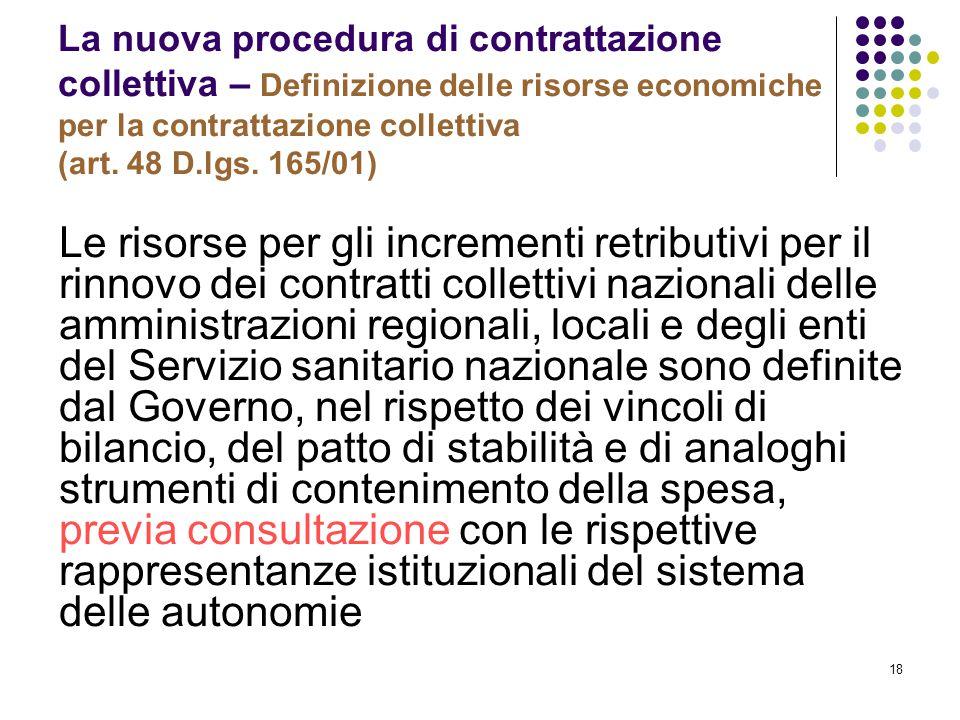 18 La nuova procedura di contrattazione collettiva – Definizione delle risorse economiche per la contrattazione collettiva (art. 48 D.lgs. 165/01) Le