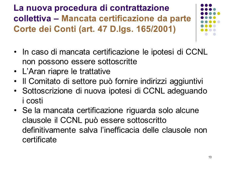 19 La nuova procedura di contrattazione collettiva – Mancata certificazione da parte Corte dei Conti (art. 47 D.lgs. 165/2001) In caso di mancata cert