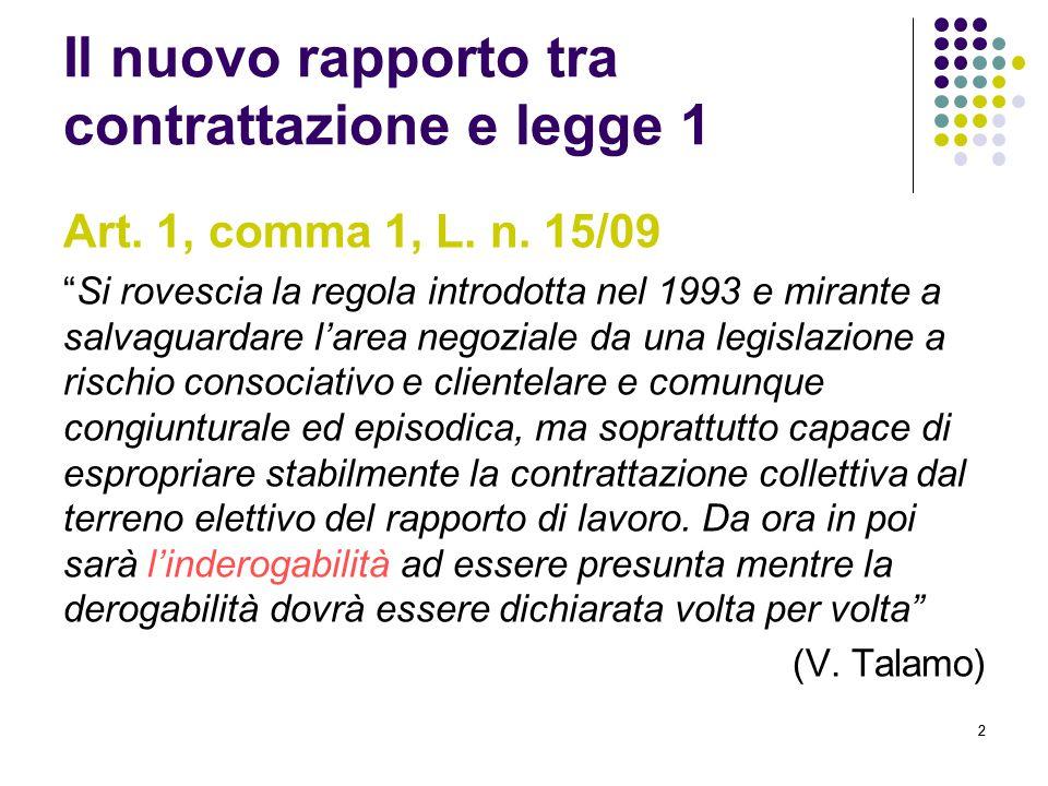 """22 Il nuovo rapporto tra contrattazione e legge 1 Art. 1, comma 1, L. n. 15/09 """"Si rovescia la regola introdotta nel 1993 e mirante a salvaguardare l'"""