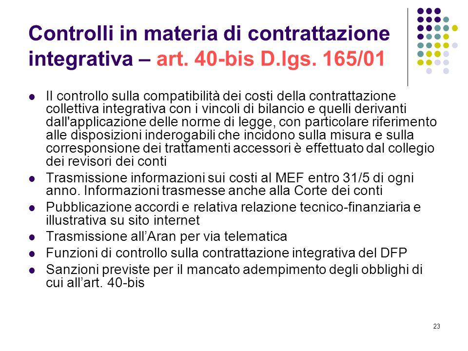 23 Controlli in materia di contrattazione integrativa – art. 40-bis D.lgs. 165/01 Il controllo sulla compatibilità dei costi della contrattazione coll