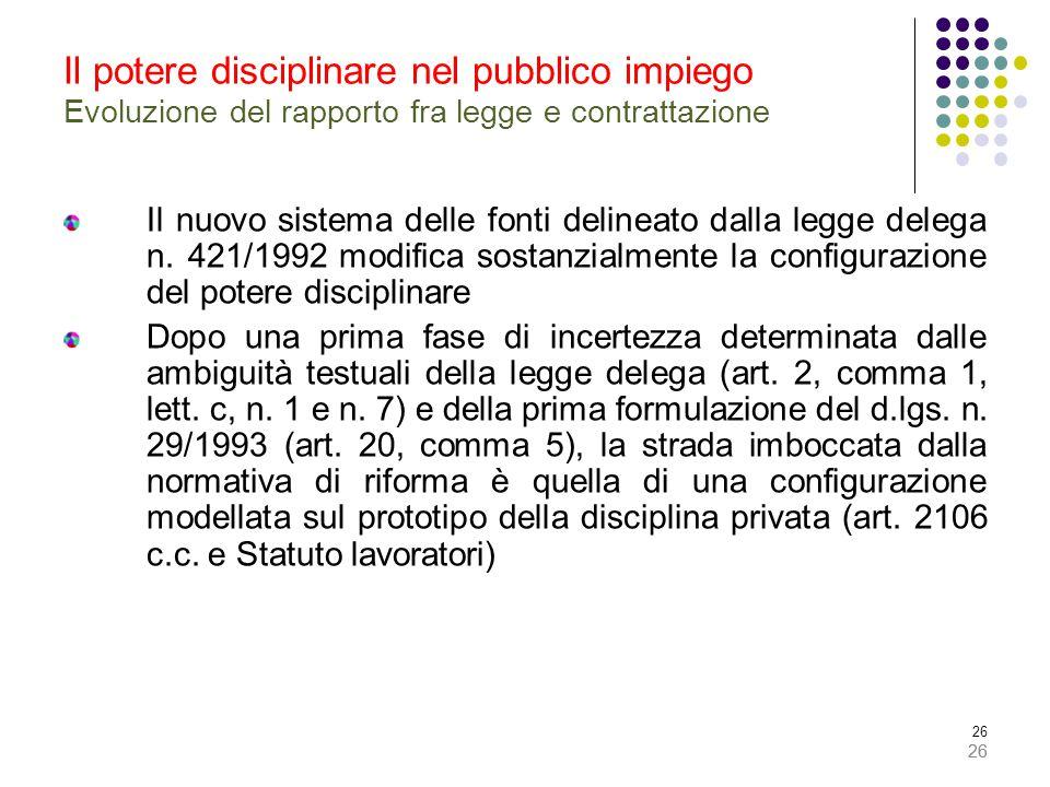 26 Il potere disciplinare nel pubblico impiego Evoluzione del rapporto fra legge e contrattazione Il nuovo sistema delle fonti delineato dalla legge delega n.