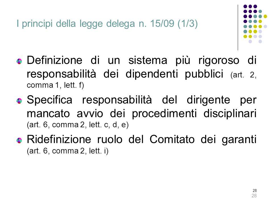 28 I principi della legge delega n. 15/09 (1/3) Definizione di un sistema più rigoroso di responsabilità dei dipendenti pubblici (art. 2, comma 1, let