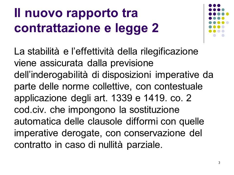 33 Il nuovo rapporto tra contrattazione e legge 2 La stabilità e l'effettività della rilegificazione viene assicurata dalla previsione dell'inderogabilità di disposizioni imperative da parte delle norme collettive, con contestuale applicazione degli art.