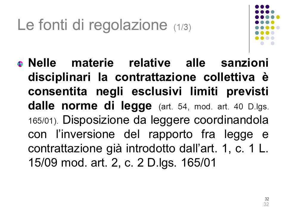 32 Le fonti di regolazione (1/3) Nelle materie relative alle sanzioni disciplinari la contrattazione collettiva è consentita negli esclusivi limiti previsti dalle norme di legge (art.