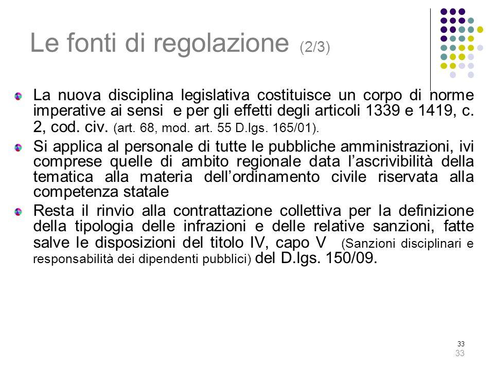 33 Le fonti di regolazione (2/3) La nuova disciplina legislativa costituisce un corpo di norme imperative ai sensi e per gli effetti degli articoli 13