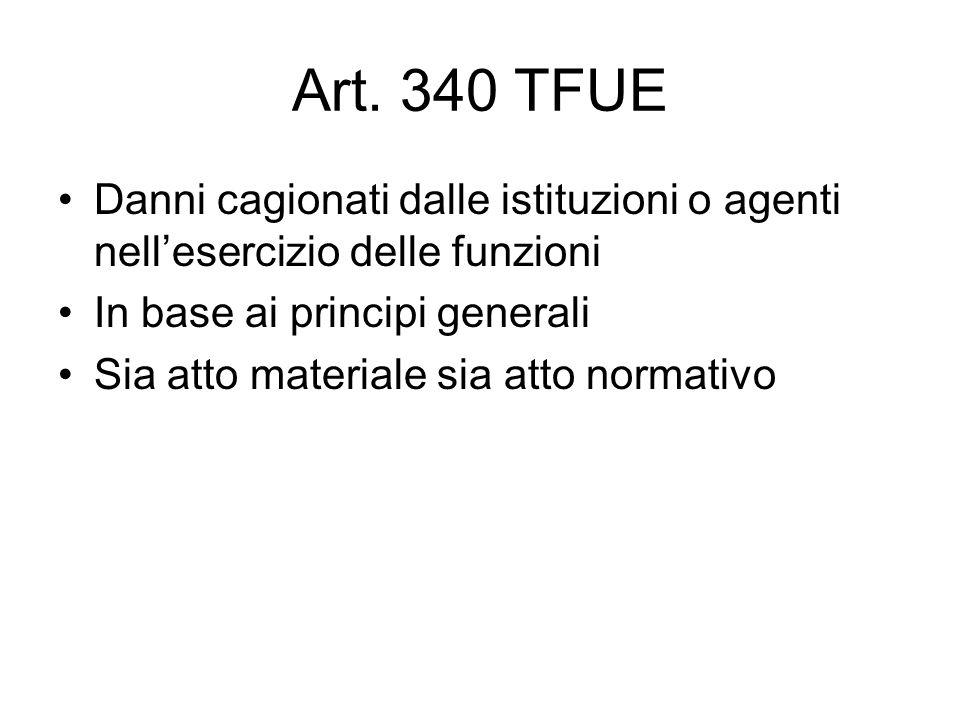 Art. 340 TFUE Danni cagionati dalle istituzioni o agenti nell'esercizio delle funzioni In base ai principi generali Sia atto materiale sia atto normat