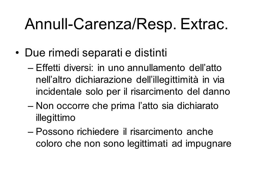 Annull-Carenza/Resp. Extrac. Due rimedi separati e distinti –Effetti diversi: in uno annullamento dell'atto nell'altro dichiarazione dell'illegittimit