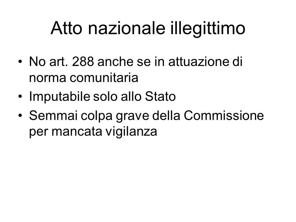Atto nazionale illegittimo No art. 288 anche se in attuazione di norma comunitaria Imputabile solo allo Stato Semmai colpa grave della Commissione per