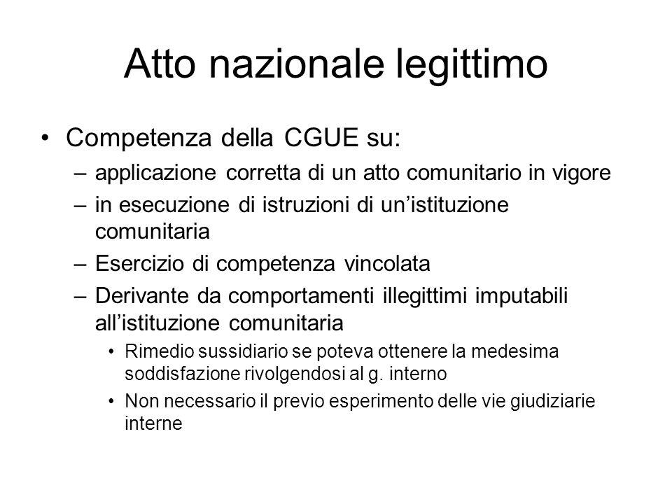 Atto nazionale legittimo Competenza della CGUE su: –applicazione corretta di un atto comunitario in vigore –in esecuzione di istruzioni di un'istituzi