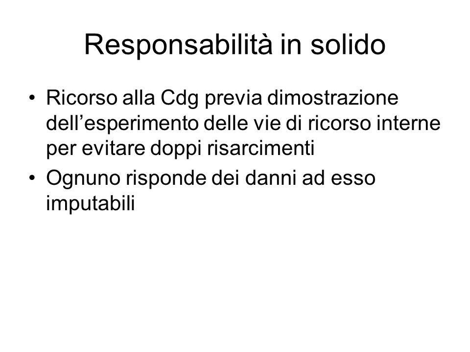 Responsabilità in solido Ricorso alla Cdg previa dimostrazione dell'esperimento delle vie di ricorso interne per evitare doppi risarcimenti Ognuno risponde dei danni ad esso imputabili