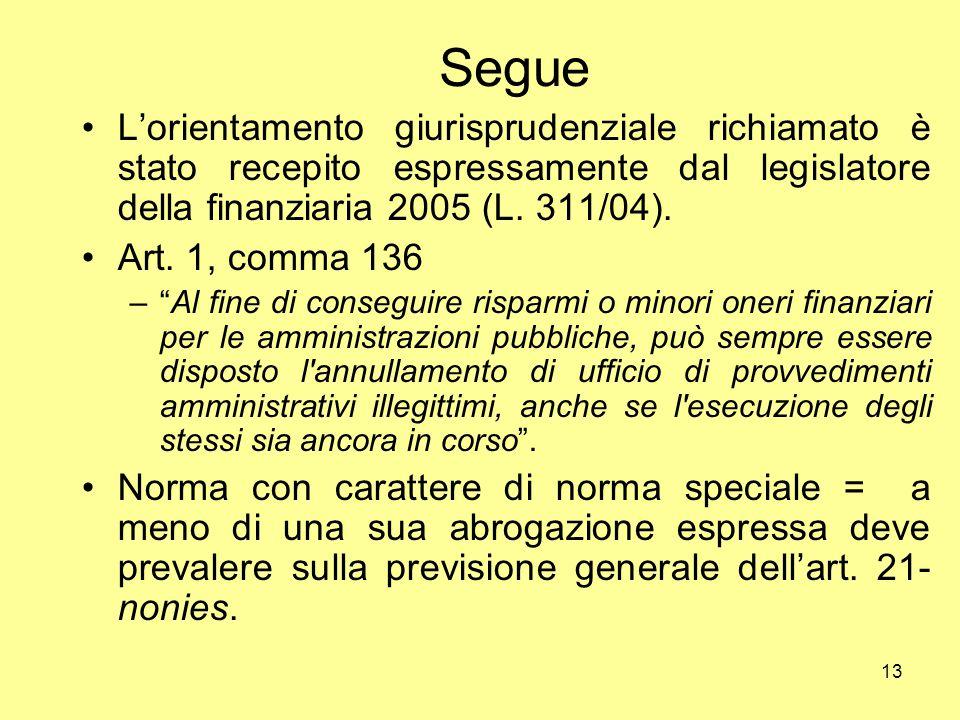 13 Segue L'orientamento giurisprudenziale richiamato è stato recepito espressamente dal legislatore della finanziaria 2005 (L. 311/04). Art. 1, comma
