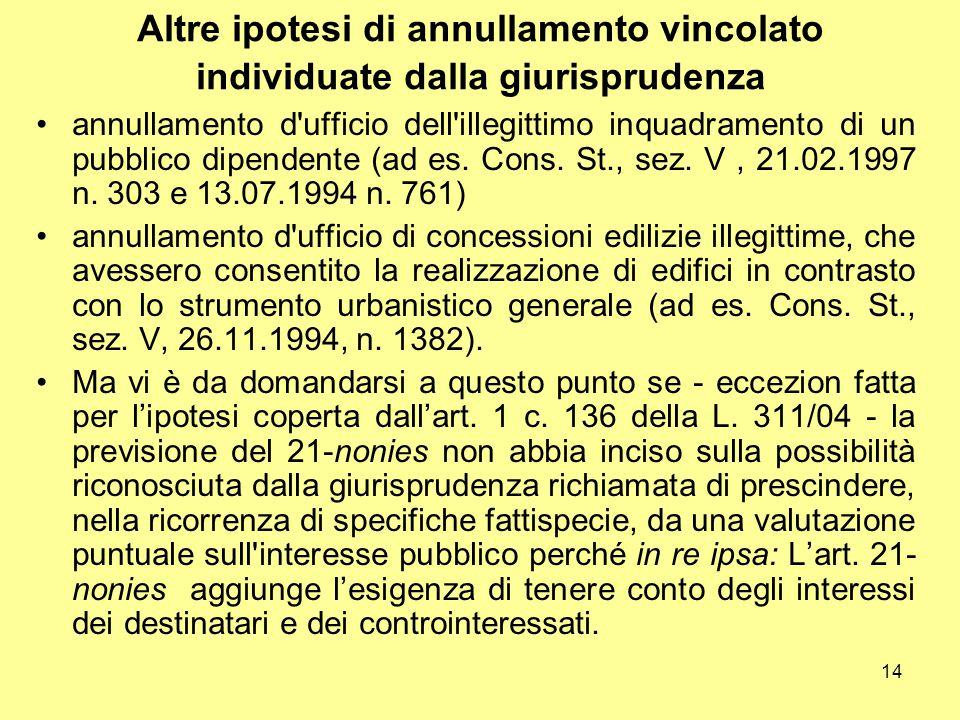 14 Altre ipotesi di annullamento vincolato individuate dalla giurisprudenza annullamento d'ufficio dell'illegittimo inquadramento di un pubblico dipen