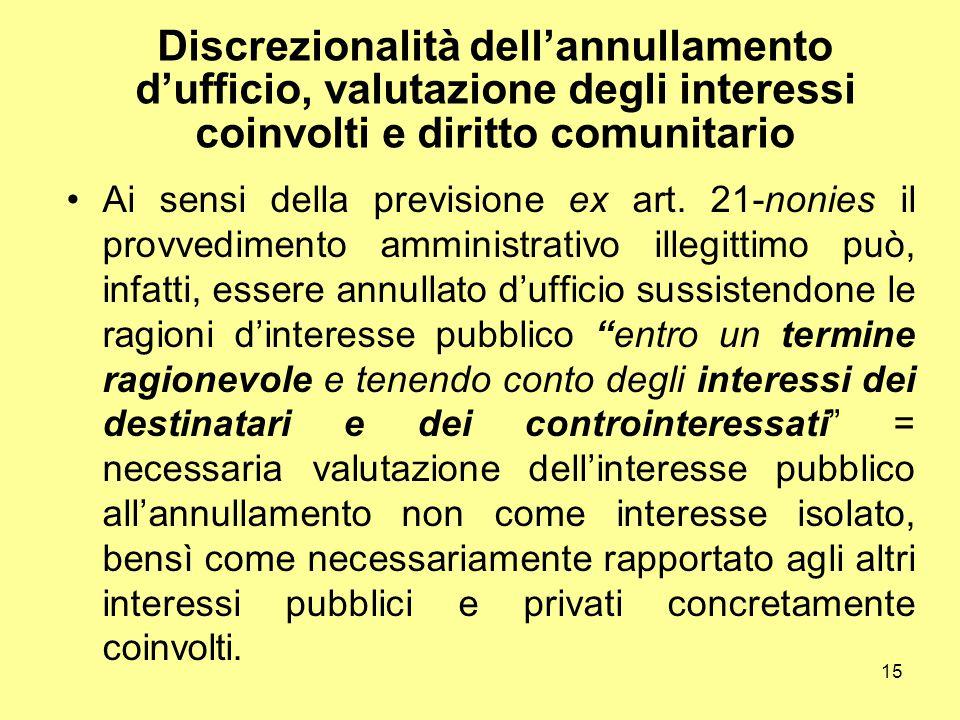 15 Discrezionalità dell'annullamento d'ufficio, valutazione degli interessi coinvolti e diritto comunitario Ai sensi della previsione ex art. 21-nonie