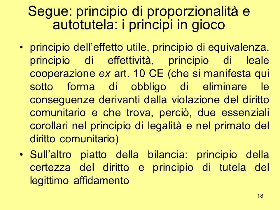 18 Segue: principio di proporzionalità e autotutela: i principi in gioco principio dell'effetto utile, principio di equivalenza, principio di effettiv