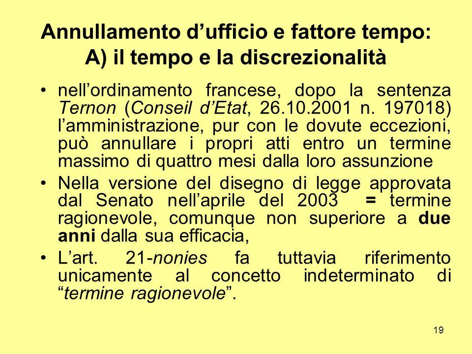 19 Annullamento d'ufficio e fattore tempo: A) il tempo e la discrezionalità nell'ordinamento francese, dopo la sentenza Ternon (Conseil d'Etat, 26.10.
