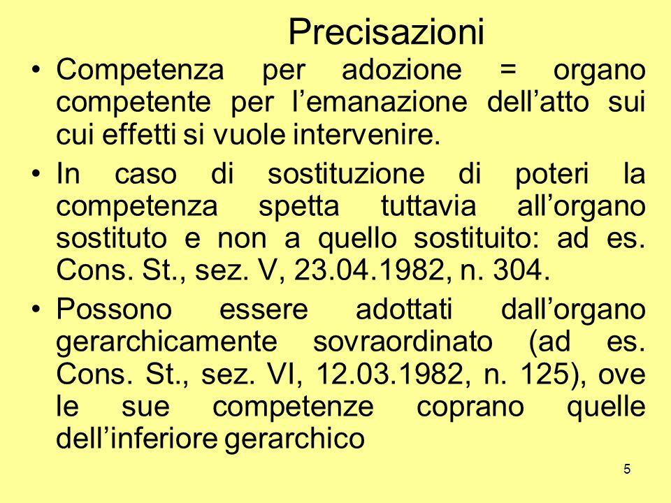 5 Precisazioni Competenza per adozione = organo competente per l'emanazione dell'atto sui cui effetti si vuole intervenire. In caso di sostituzione di