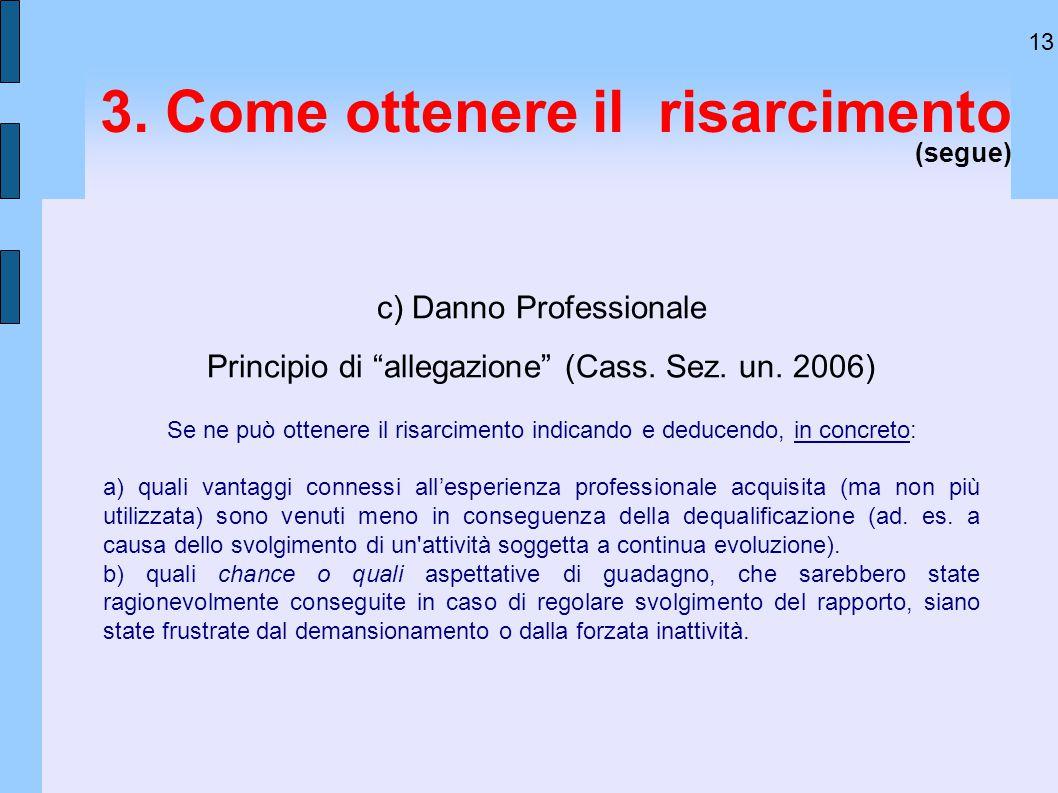 """13 3. Come ottenere il risarcimento (segue) c) Danno Professionale Principio di """"allegazione"""" (Cass. Sez. un. 2006) Se ne può ottenere il risarcimento"""