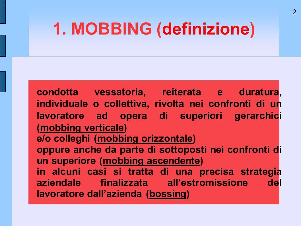 2 1. MOBBING (definizione) condotta vessatoria, reiterata e duratura, individuale o collettiva, rivolta nei confronti di un lavoratore ad opera di sup