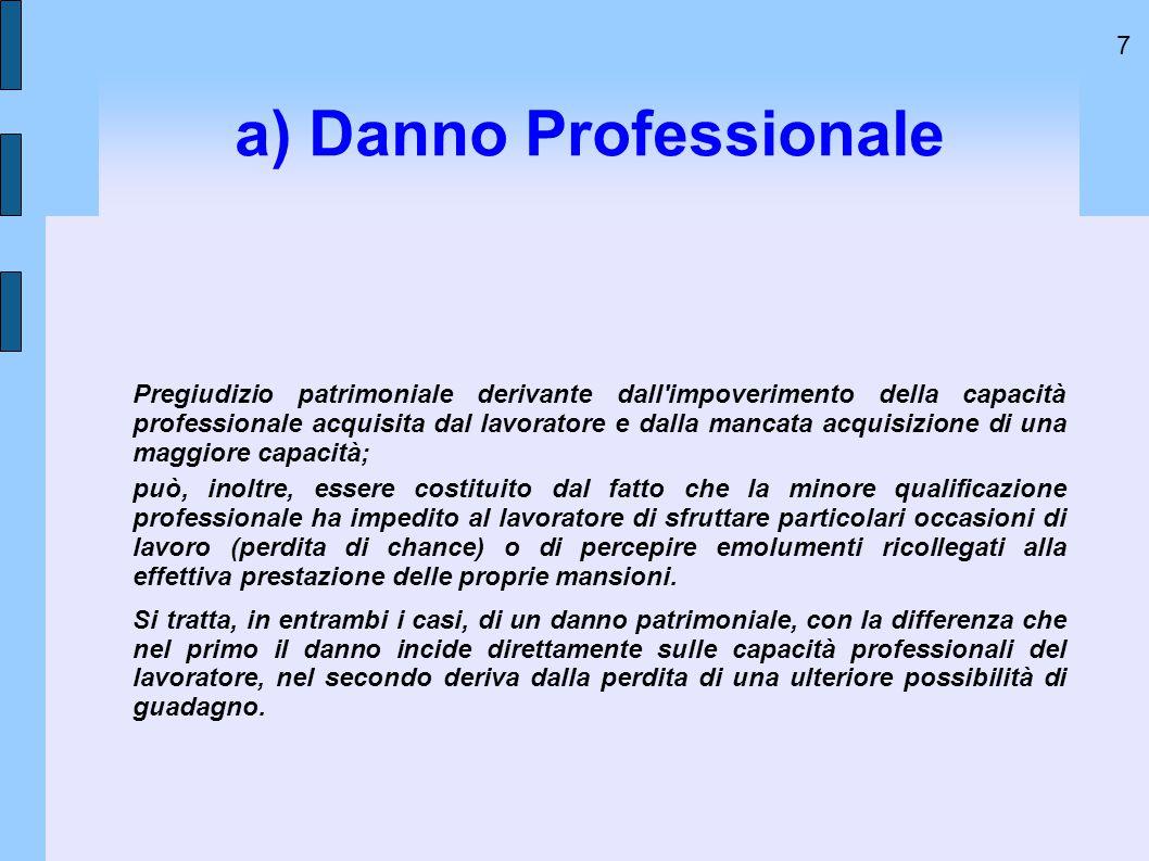 7 a) Danno Professionale Pregiudizio patrimoniale derivante dall'impoverimento della capacità professionale acquisita dal lavoratore e dalla mancata a