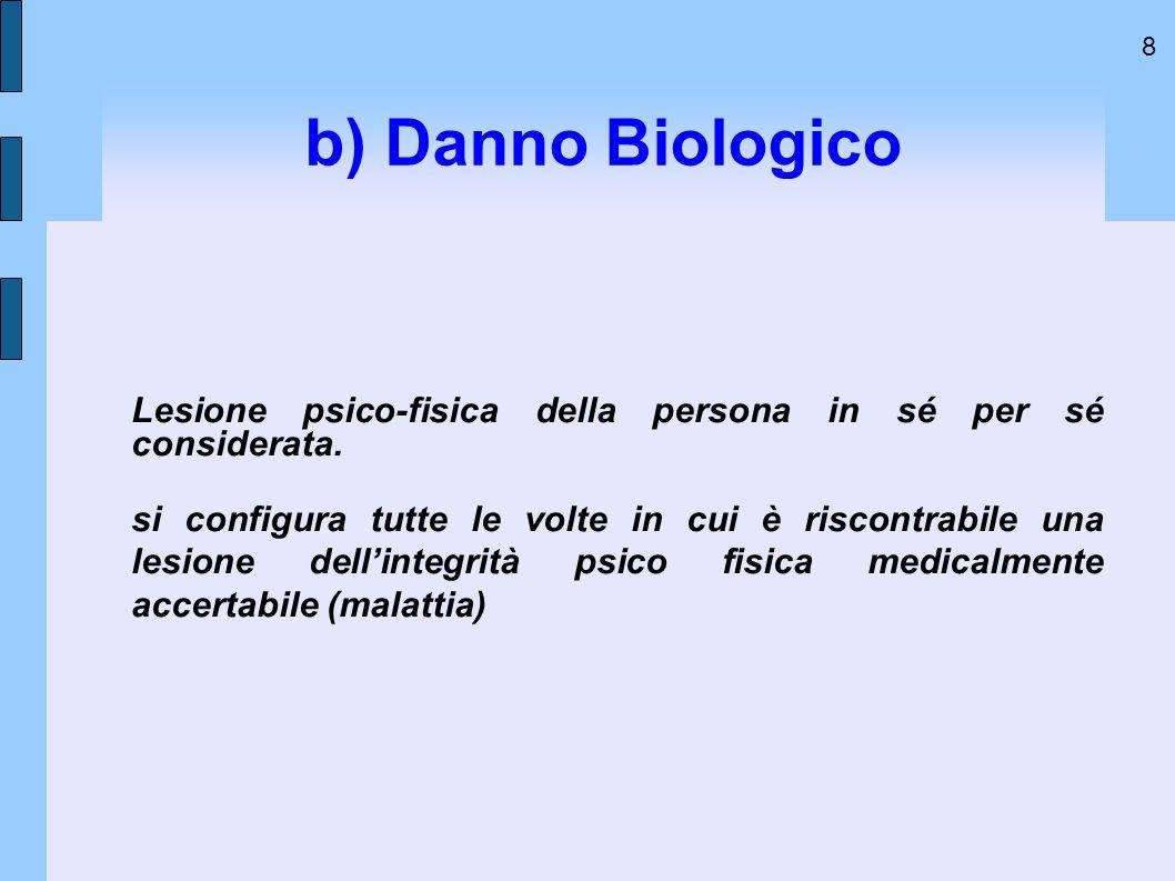 8 b) Danno Biologico Lesione psico-fisica della persona in sé per sé considerata. si configura tutte le volte in cui è riscontrabile una lesione dell'