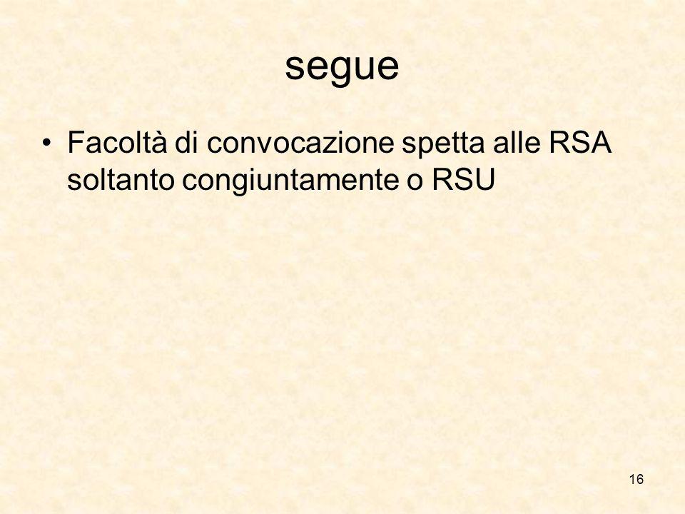 segue Facoltà di convocazione spetta alle RSA soltanto congiuntamente o RSU 16