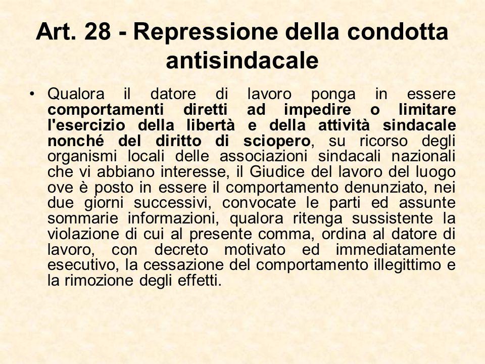 Art. 28 - Repressione della condotta antisindacale Qualora il datore di lavoro ponga in essere comportamenti diretti ad impedire o limitare l'esercizi