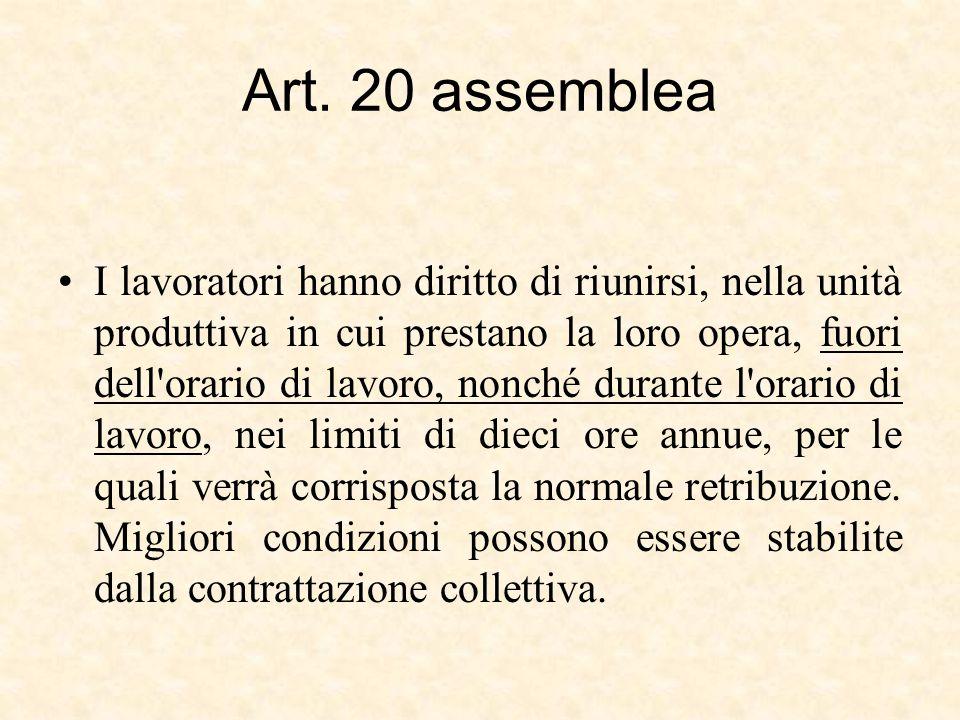 Art. 20 assemblea I lavoratori hanno diritto di riunirsi, nella unità produttiva in cui prestano la loro opera, fuori dell'orario di lavoro, nonché du