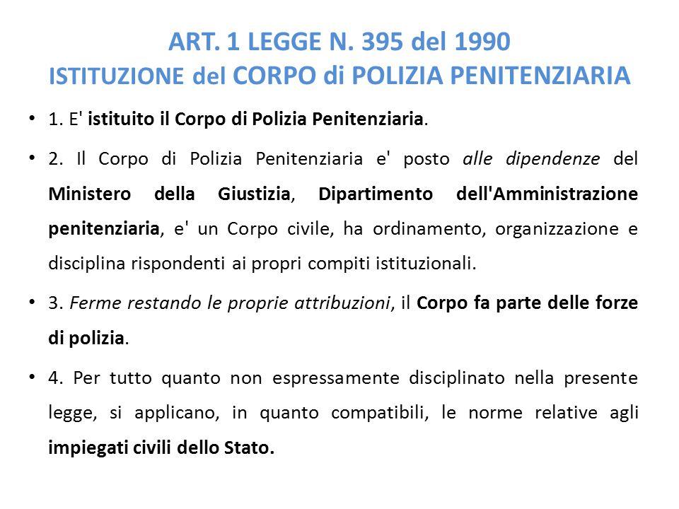 ART.1 LEGGE N. 395 del 1990 ISTITUZIONE del CORPO di POLIZIA PENITENZIARIA 1.