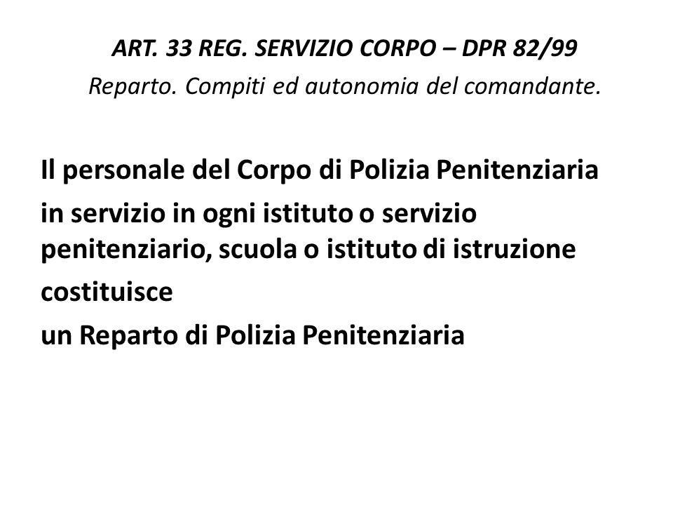 ART.33 REG. SERVIZIO CORPO – DPR 82/99 Reparto. Compiti ed autonomia del comandante.
